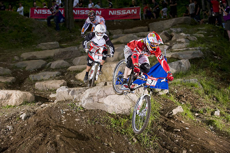Joost Wichman firmly in the lead through the rock garden.